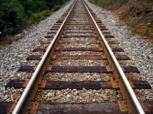 Train tracks in rural area.